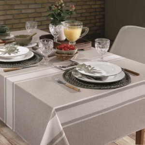 Toalha de Mesa 6 Lugares Gourmet Listras Taupe 140x220 / Hedrons